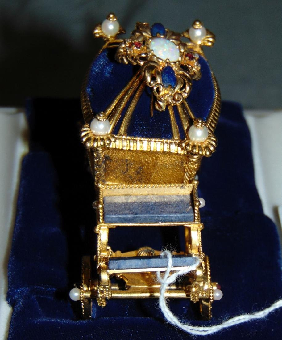 Igor Carl Faberge Sterling Coach with 18K Brooch - 2