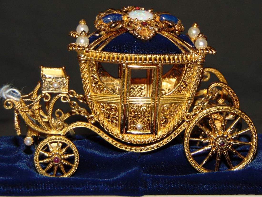 Igor Carl Faberge Sterling Coach with 18K Brooch - 3