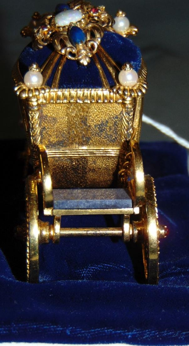 Igor Carl Faberge Sterling Coach with 18K Brooch - 4