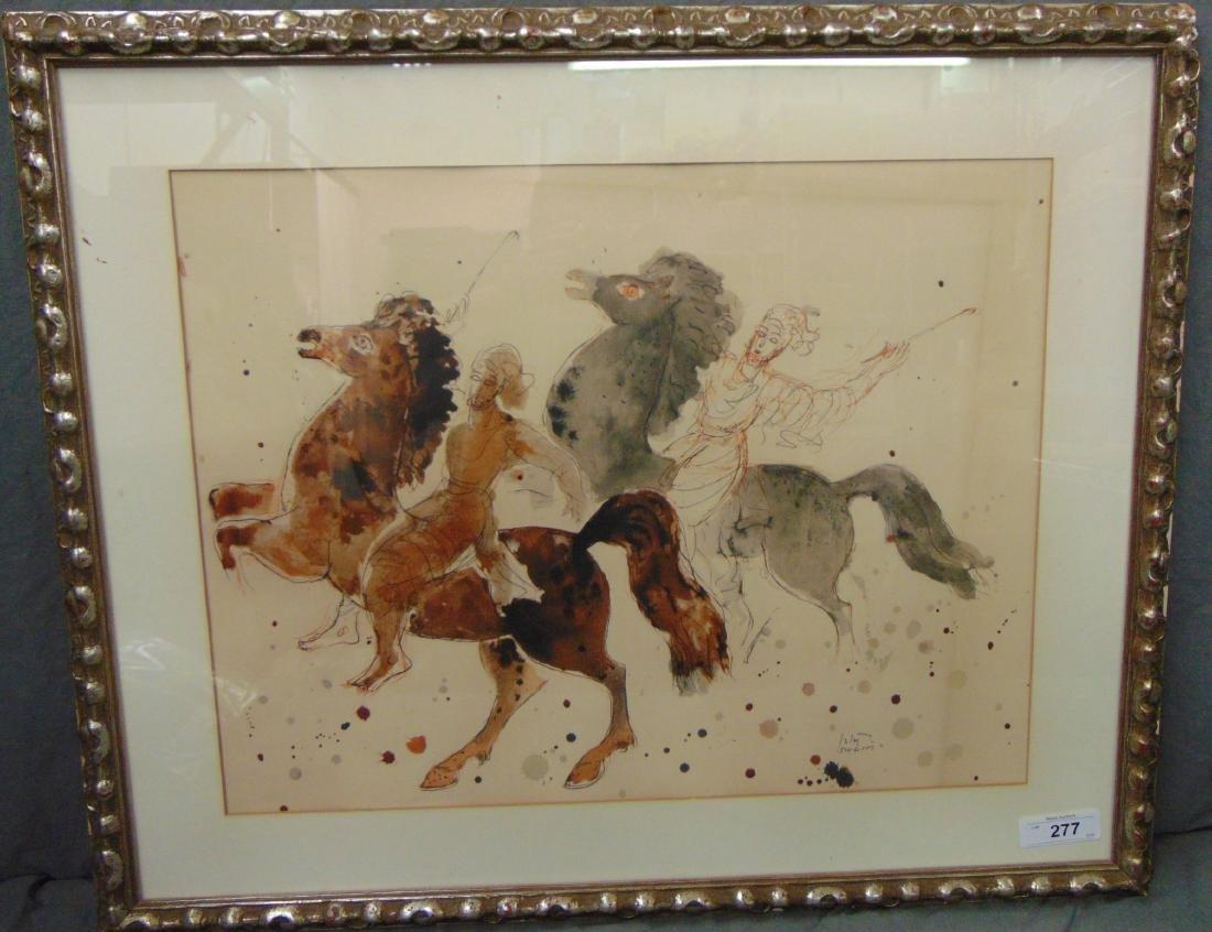 Reuven Rubin Print, Men on Horseback