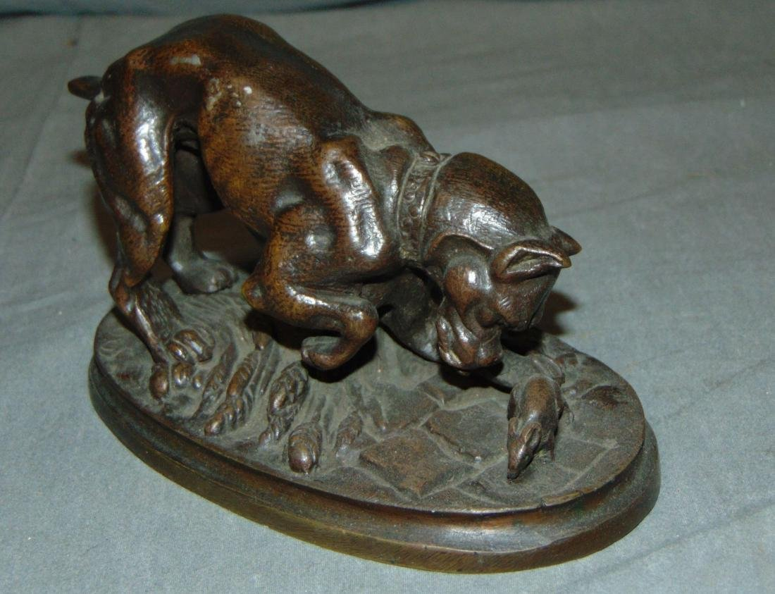 Bronze of a Boxer Dog & Mouse, Signed Trodoux