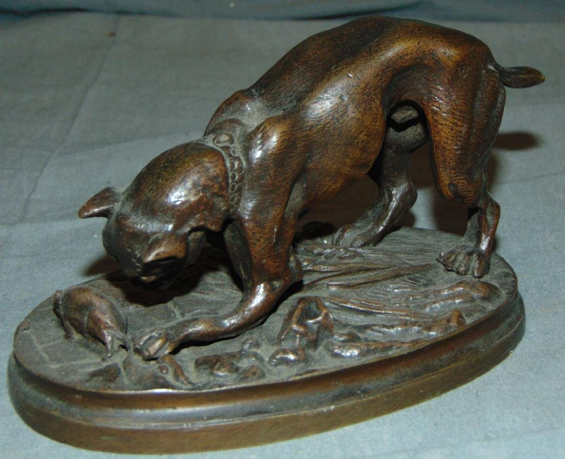 Bronze of a Boxer Dog & Mouse, Signed Trodoux - 2