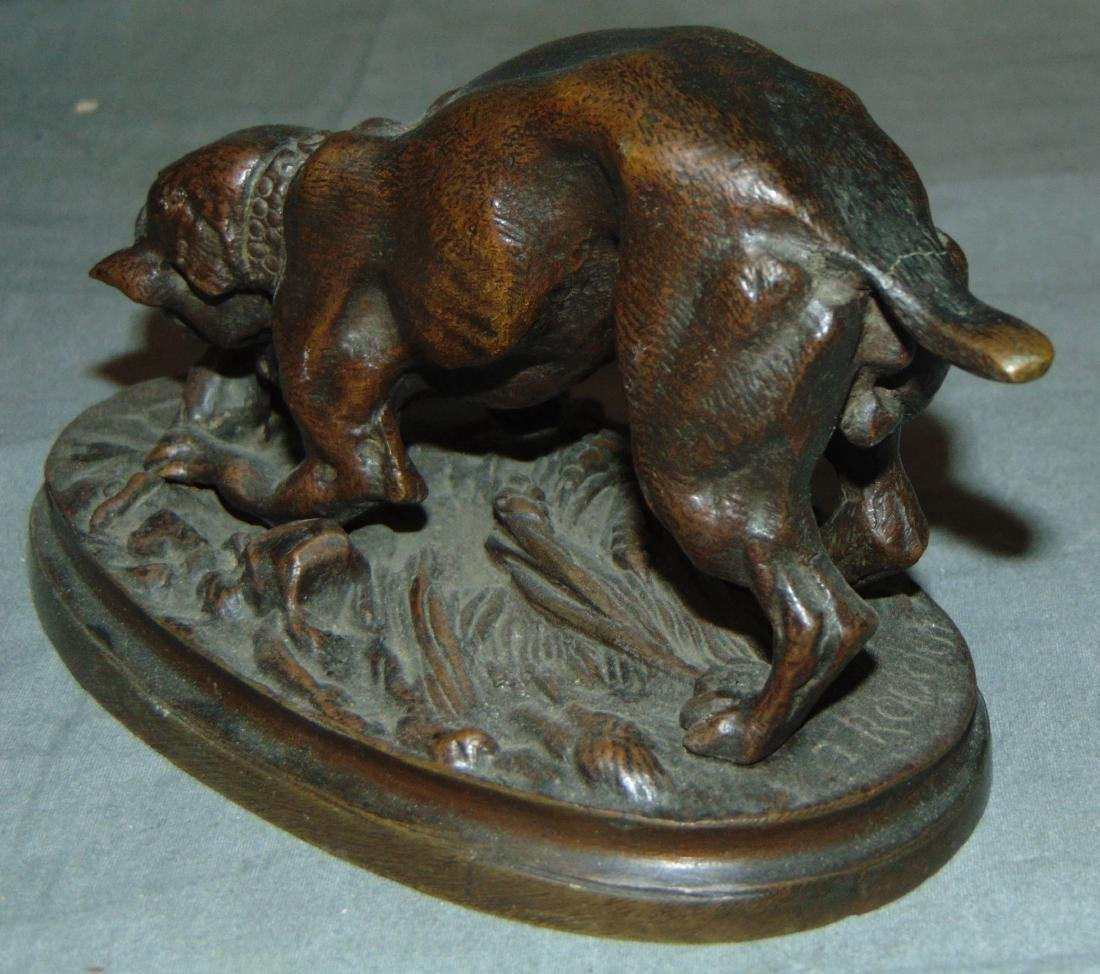 Bronze of a Boxer Dog & Mouse, Signed Trodoux - 4