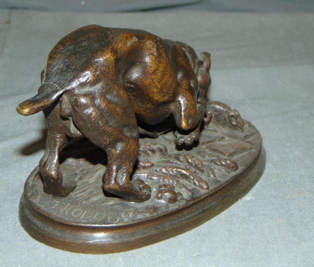 Bronze of a Boxer Dog & Mouse, Signed Trodoux - 5