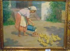 Janos Laszlo Aldor (1895 - 1944) Oil on Canvas.