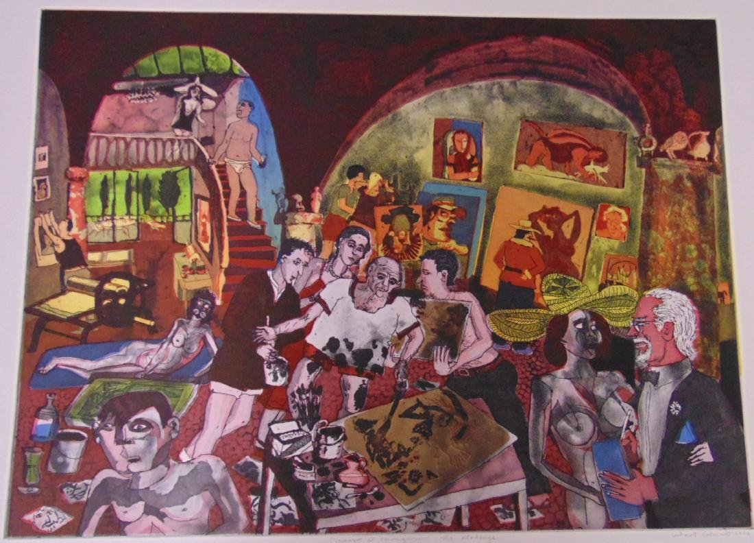 Warrington Colescott, Signed Colored Etching
