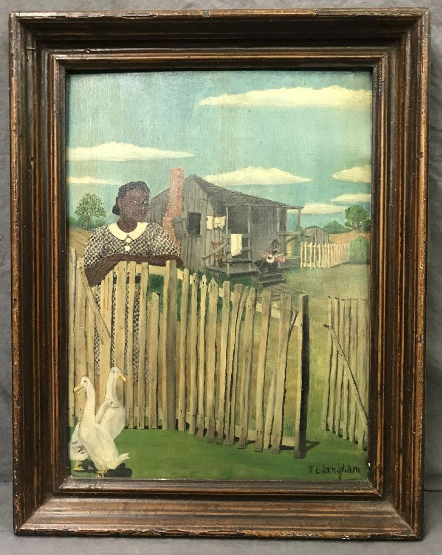 T. L. Langham. Folk Art Black Americana Painting.
