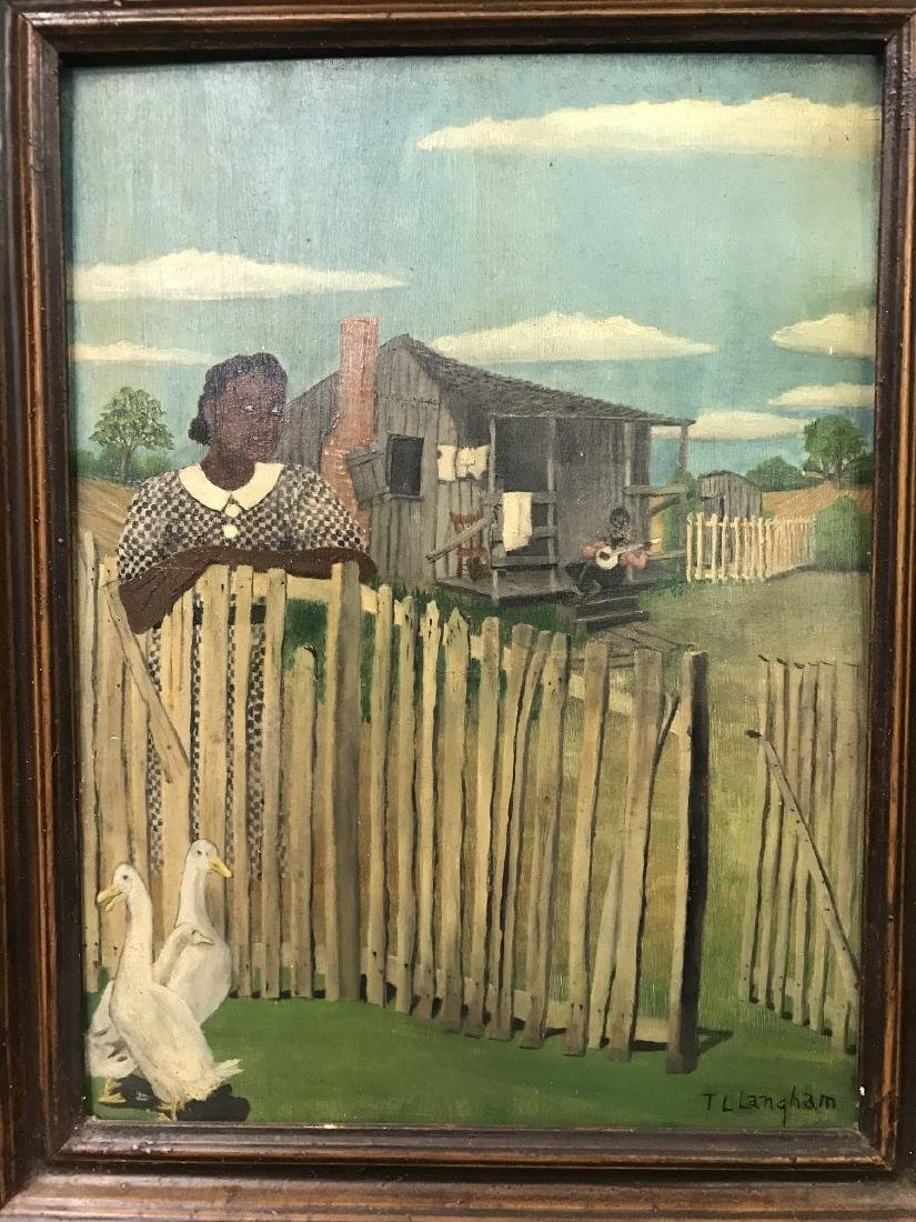 T. L. Langham. Folk Art Black Americana Painting. - 2