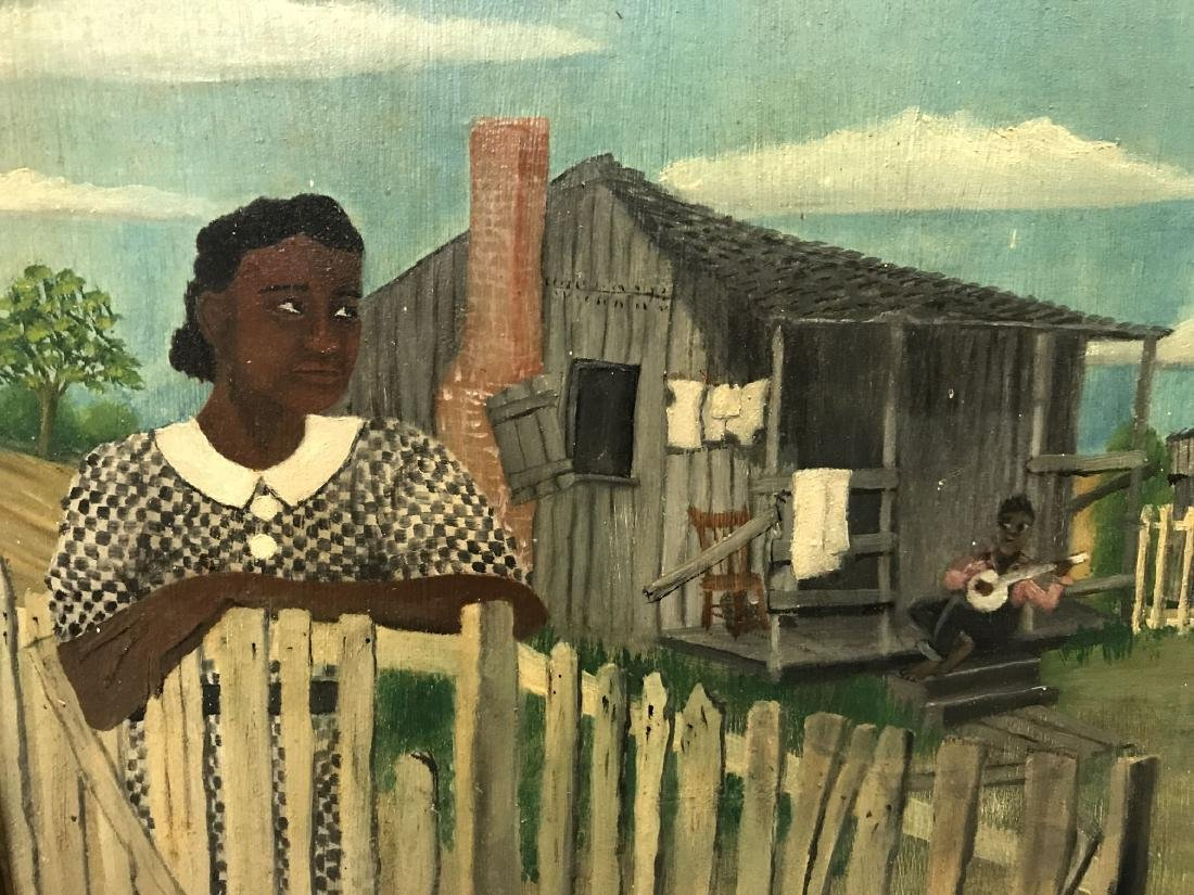 T. L. Langham. Folk Art Black Americana Painting. - 3