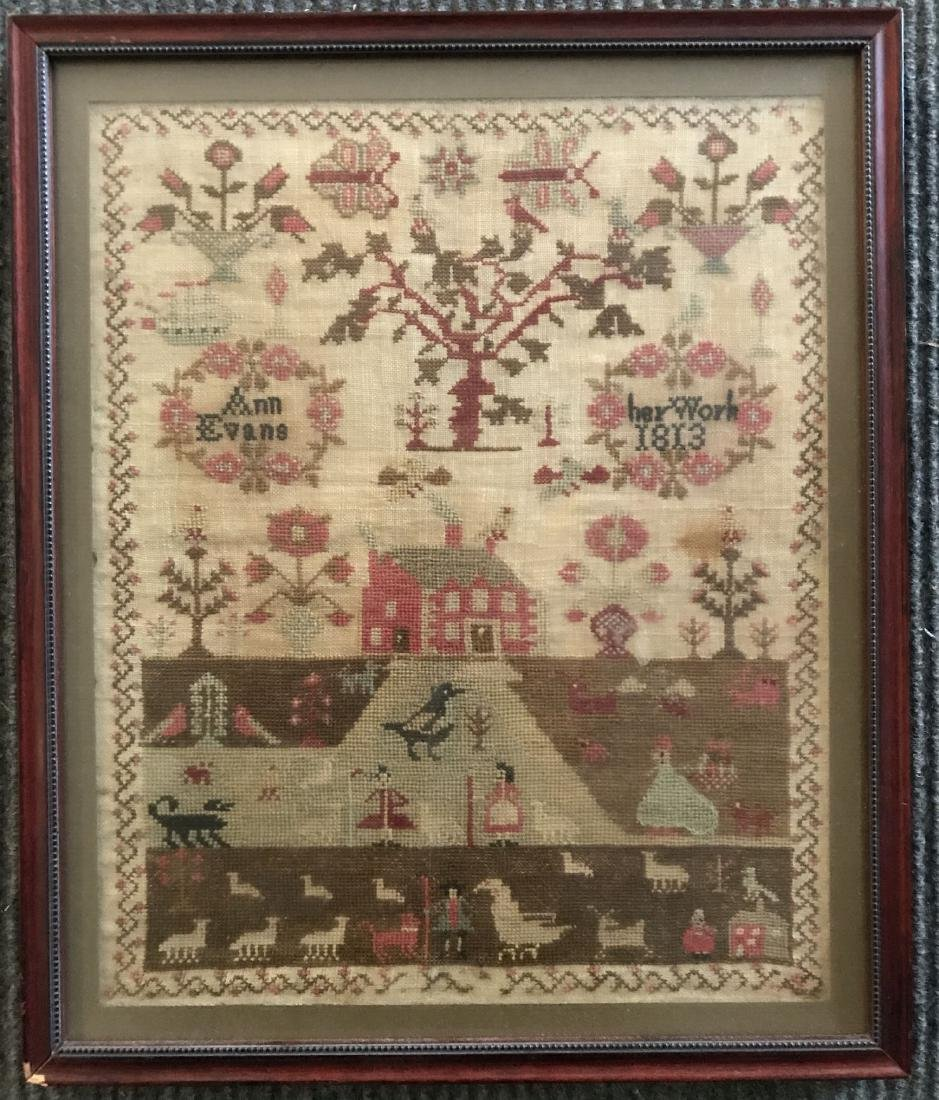 Early 19th Century Sampler. Ann Evans 1813.
