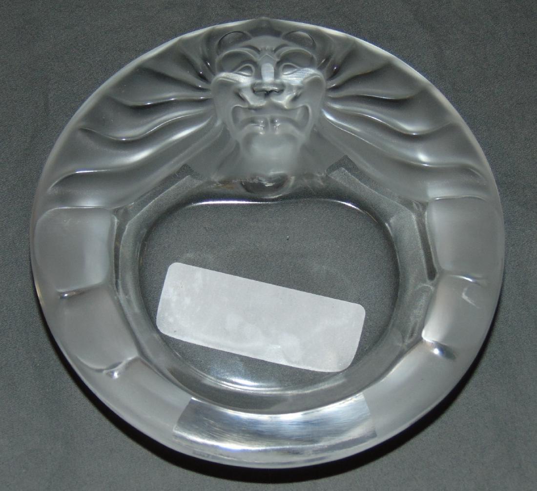 Lalique Lion Head Ashtray.