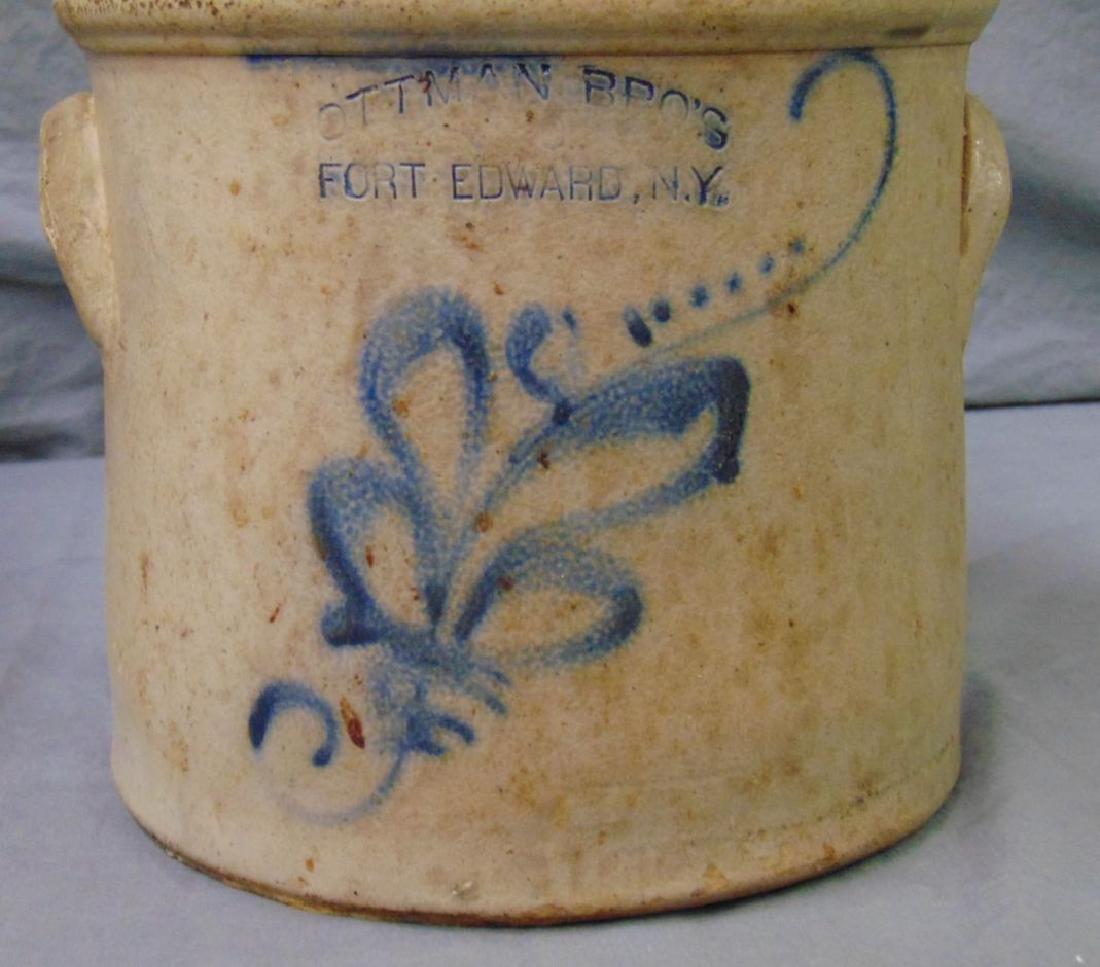 Ottman Brothers Fort Edward NY Stoneware Crock. - 3