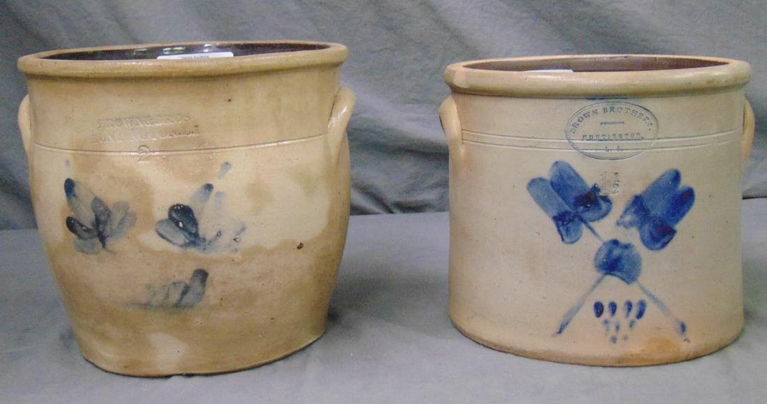 Pair of Brown Brothers Stoneware Crocks.