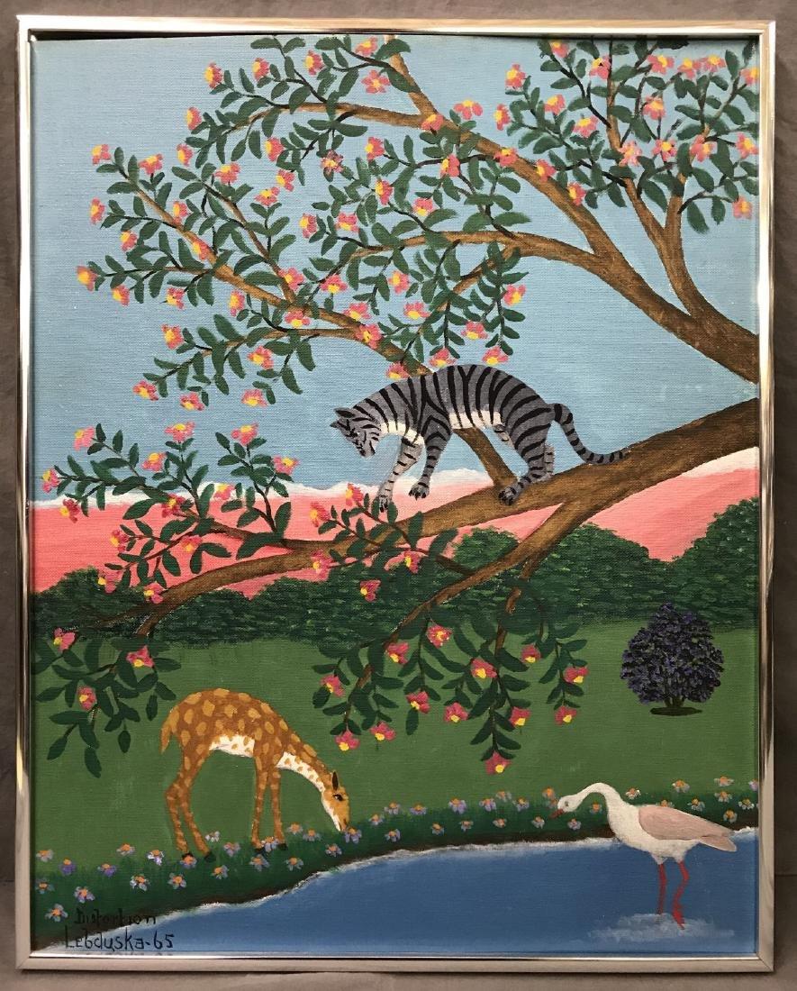 Lawrence Lebduska. 1894-1966. Oil on Board.