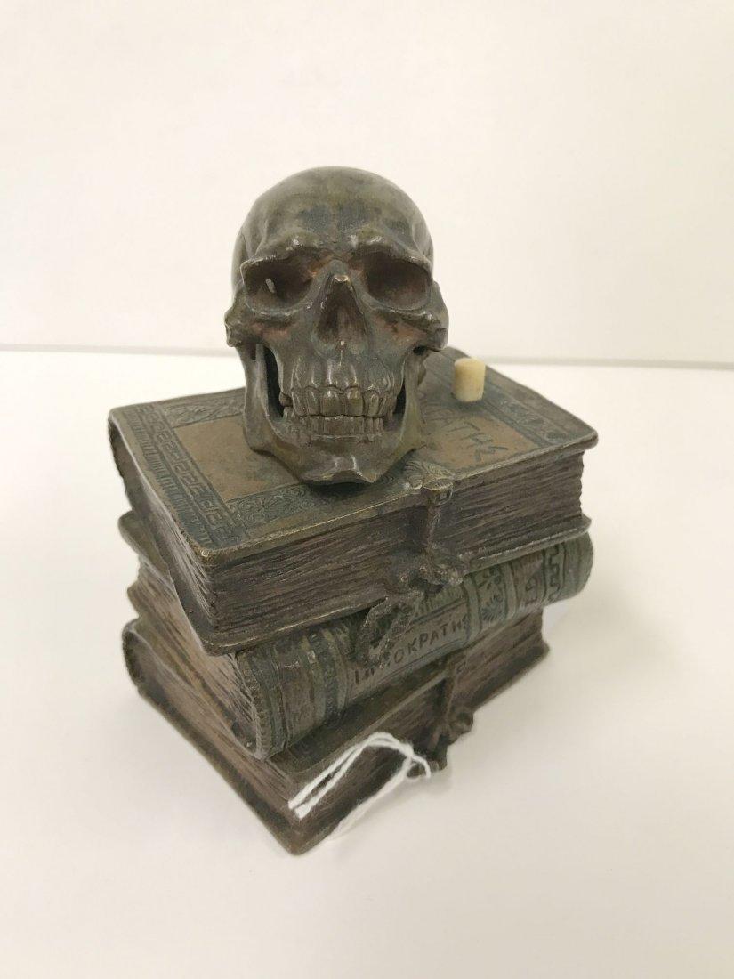 Bronze Skull on Stacked Books - 2