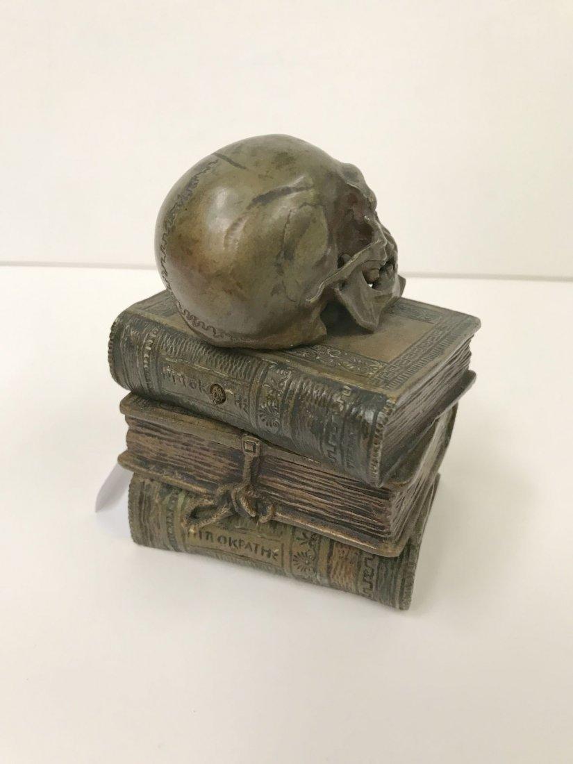Bronze Skull on Stacked Books - 3