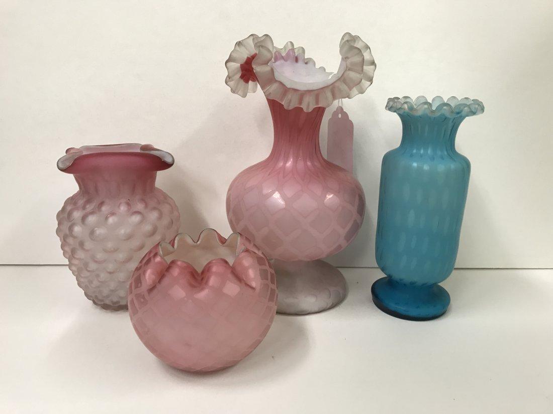 4 Piece Satin Art Glass Lot