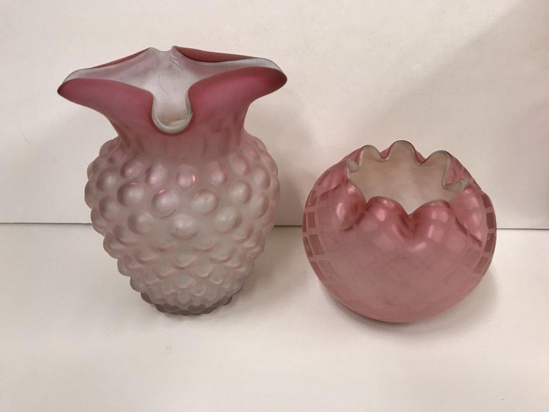 4 Piece Satin Art Glass Lot - 2