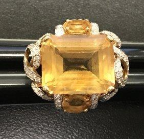 Citrine And Diamond Ring.