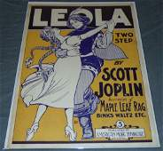 Rare. Scott Joplin. Leola Original Sheet Music.