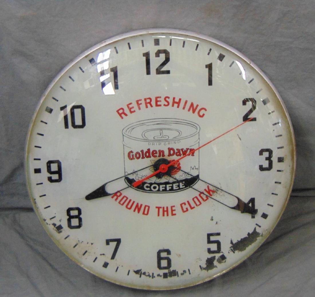 Golden Dawn Coffee. Wall Clock.