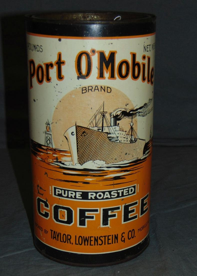 Scarce Port O'Mobile Three Pound Coffee Tin.