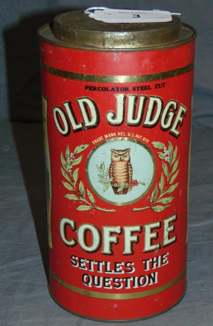 Old Judge Three Pound Coffee Tin.