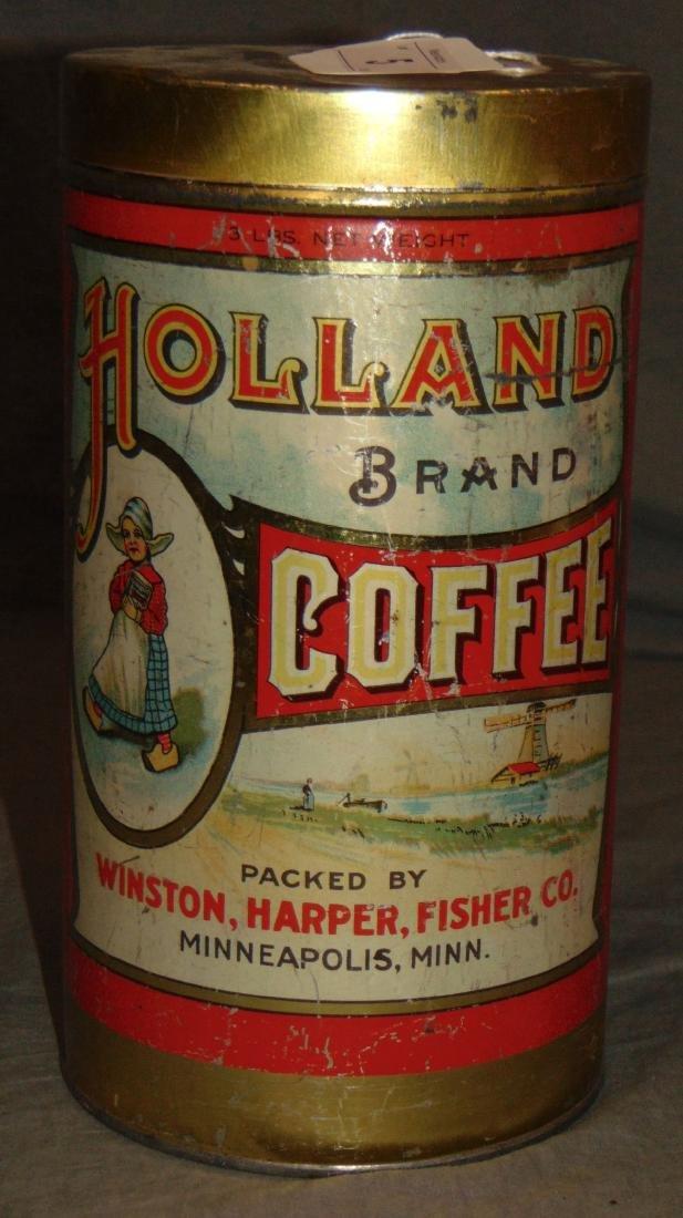 Scarce Holland Brand Coffee. Three Pound Tin.
