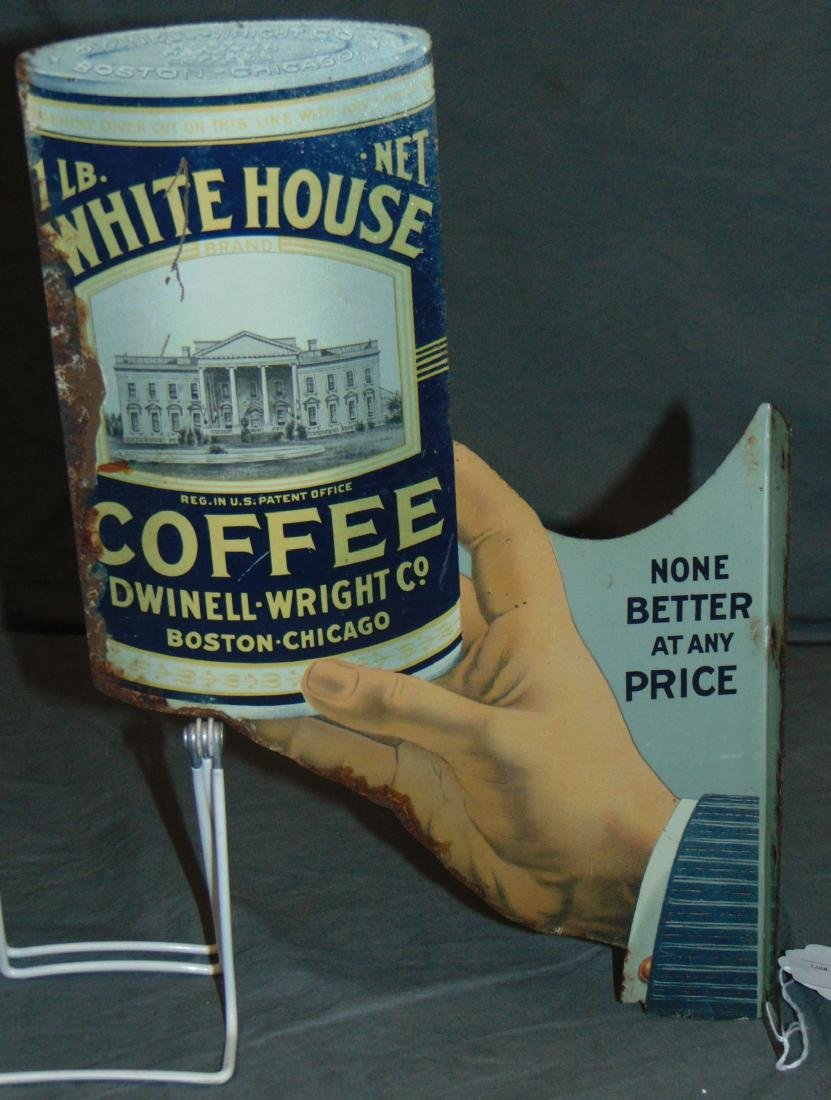 White House Coffee Diet Cut Tin Flange Sign.