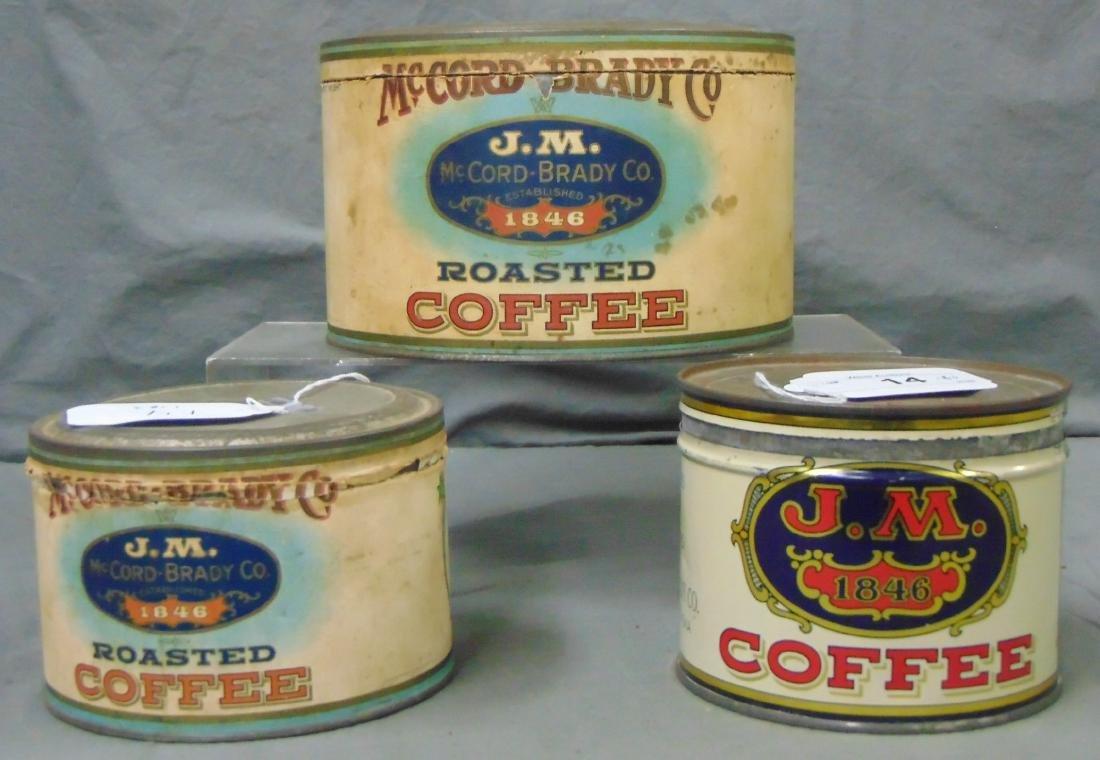 J.M. Coffee. Lot of Three Tins.