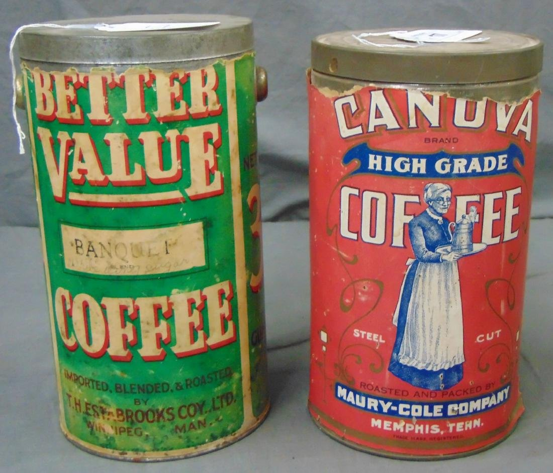 Lot of Two. Three Pound Coffee Tins.