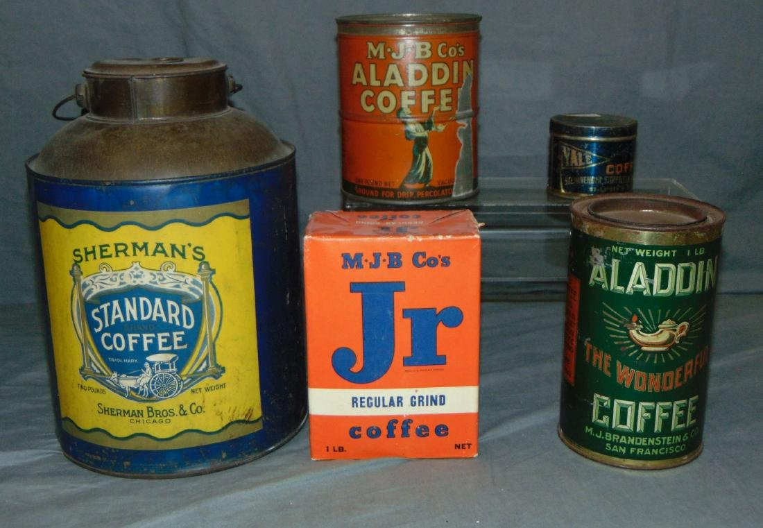 Lot of Five Mixed Coffee Tins.