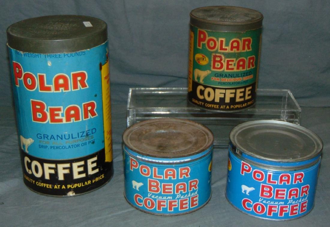 Polar Bear Coffee Tins. Lot of Four.