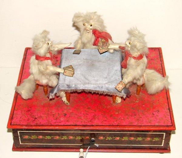 3161: THREE CATS PLAYING CARDS AUTOMATON