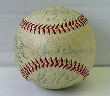 1: DODGERS CIRCA 1952 SIGNED TEAM BALL