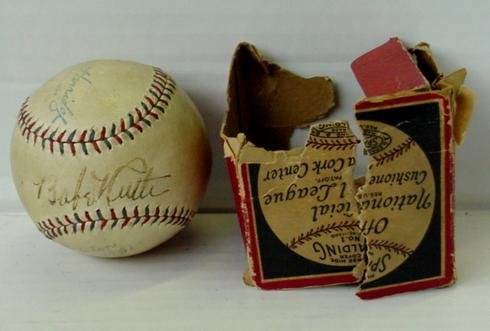 3: BABE RUTH, SINGLE SIGNED BASEBALL