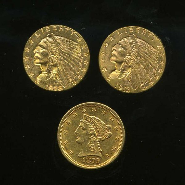 209: LOT OF THREE 2 1/2 DOLLAR GOLD PIECES