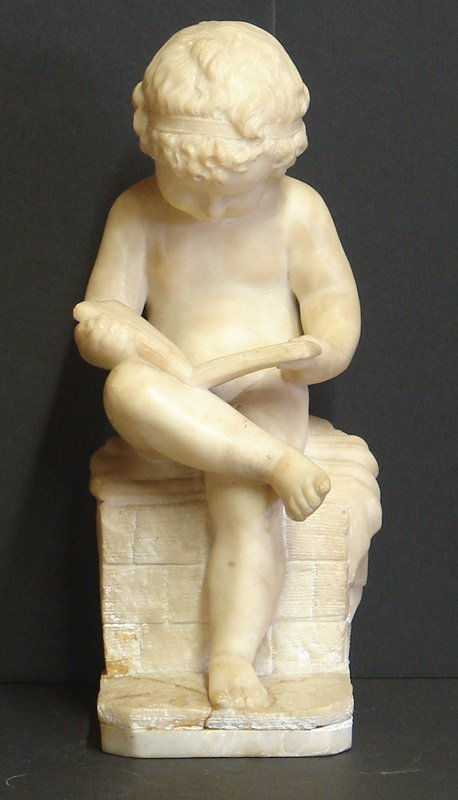 503: ALABASTER STATUE OF A BOY READING C.19TH CENT