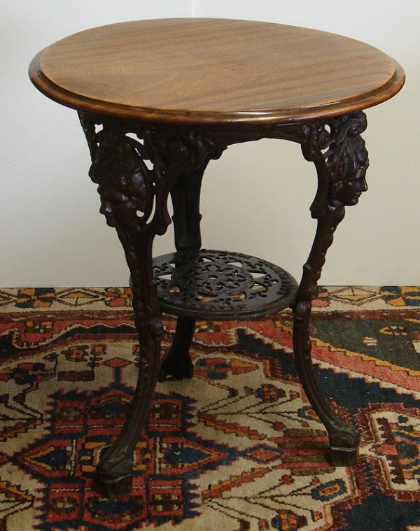 542: GASKELL & CHAMBERS LTD IRON AND WOOD TABLE