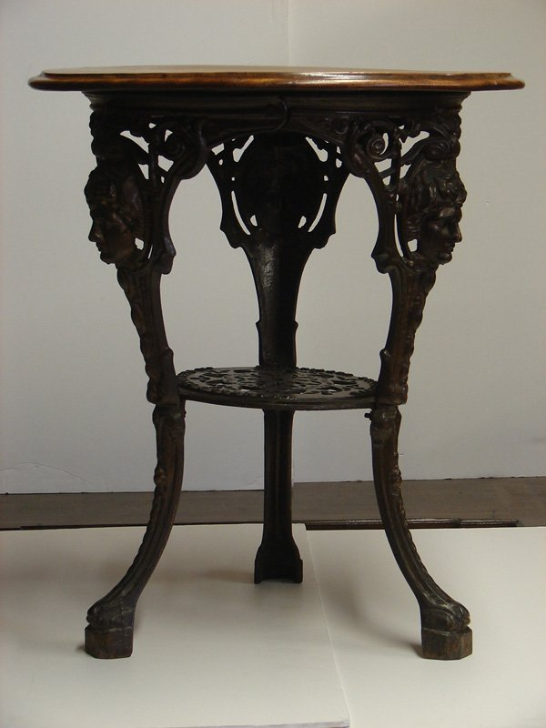 542: GASKELL & CHAMBERS LTD IRON AND WOOD TABLE - 2