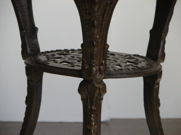 542: GASKELL & CHAMBERS LTD IRON AND WOOD TABLE - 4
