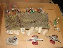 1500: 9 DIMESTORE SOLDIERS TRENCH & CANNONS