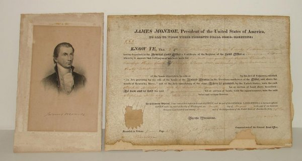 8: JAMES MONROE DOCUMENT SIGNED.