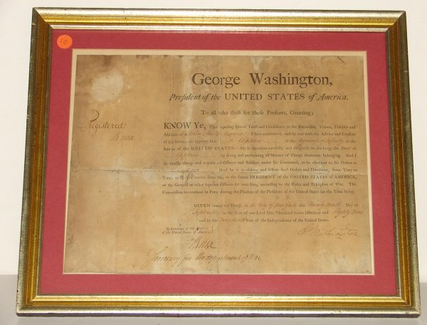 10: GEORGE WASHINGTON. DOCUMENT SIGNED.