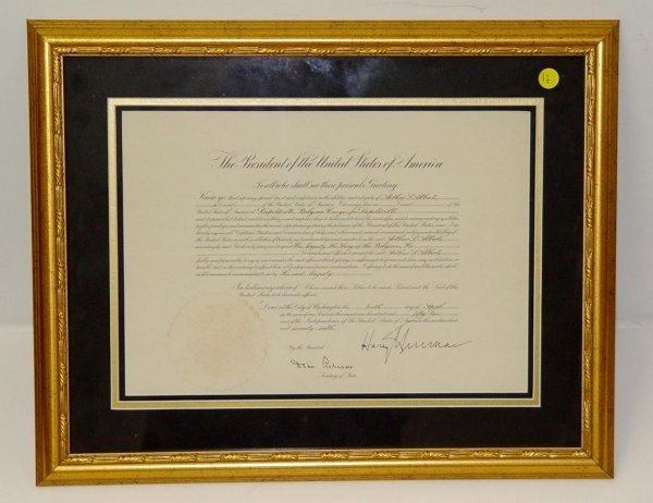 12: HARRY TRUMAN. SIGNED DOCUMENT
