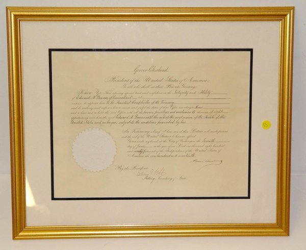 13: GROVER CLEVELAND. SIGNED DOCUMENT