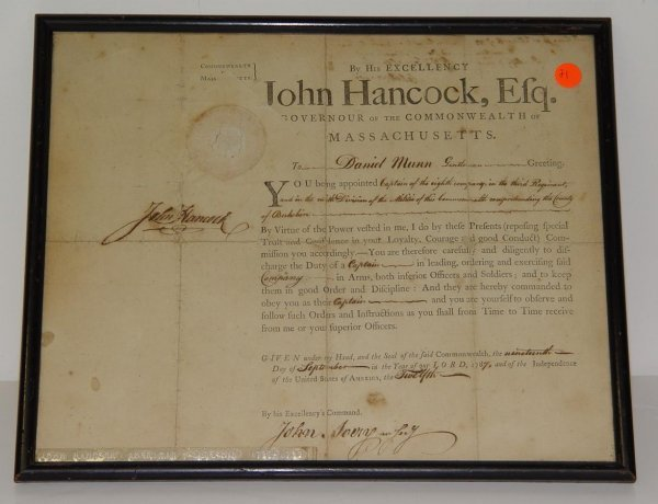 21: SIGNED JOHN HANCOCK DOCUMENT 1787