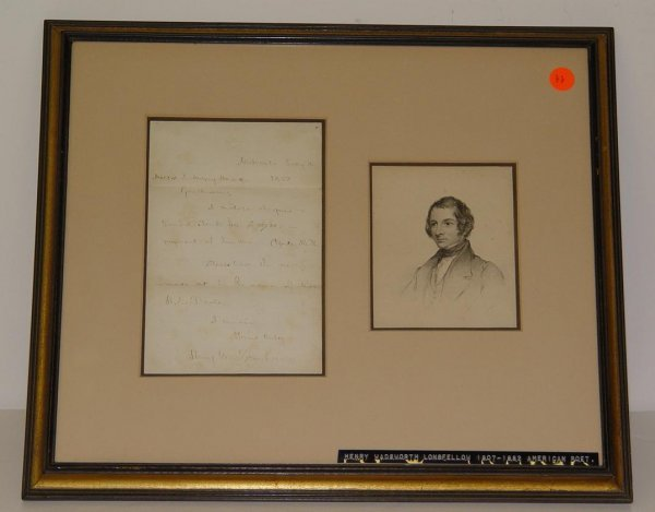 22: SIGNED LETTER. HENRY WADSWORTH LONGFELLOW