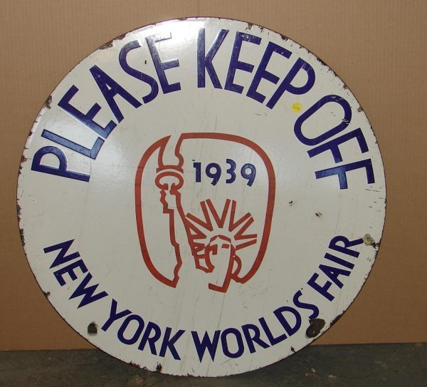 2058: 1939 WORLD'S FAIR PORCELAIN SIGN