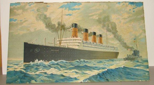 2132: VINTAGE OCEAN LINER PRINT R.M.S. AQUITANIA